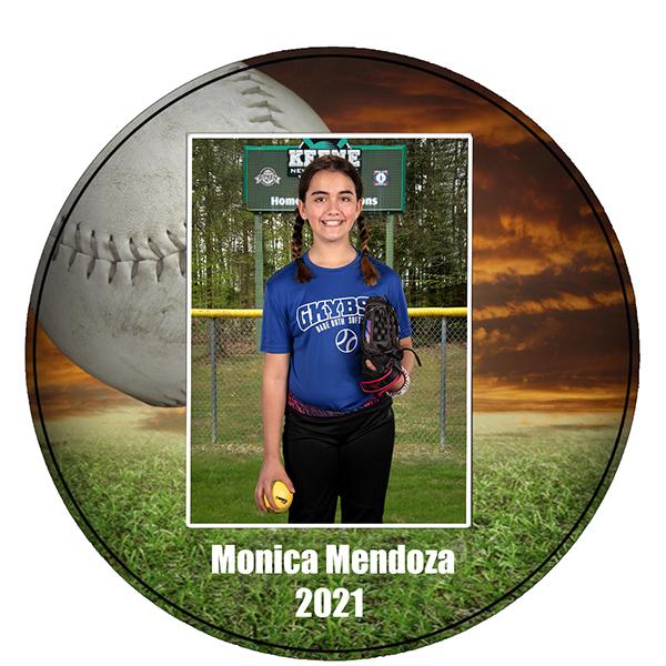 softball round wall plaque